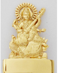 Brass Polished Golden Saraswathi