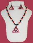 Terracotta Triangle Pendant Necklace Earring Set