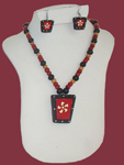Terracotta Trapezoid pendant Necklace Earring Set