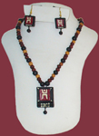 Terracotta Square Pendant Necklace Earring Set