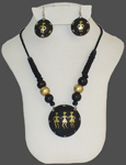 Terracotta Large Pendant Necklace Earring Set
