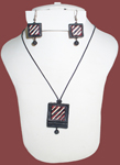 Terracotta Rectangle Necklace Earring Set