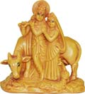 Chandan Radhakrishan with Cow - Wood Finish