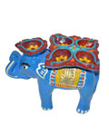 Earthen Elephant Oil Diya - Blue