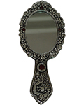 Silvery Hand Mirror Antique Silver - Oval
