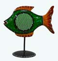 Indian White Metal Decor Fish Candle Stand - Green