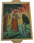 Rich Ochre Gemstone Tray - Lady with Peacock
