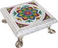 Stool with Metal Legs Silvery Flower Design