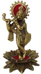 Silvery Krishna Golden Antique Finish