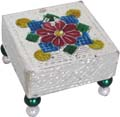 Stool with Plastic Beads Legs Floral Design