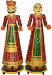 Wood Decor Rajasthani Couple Set